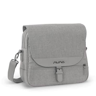 Side angle of Nuna diaper bag in Frost