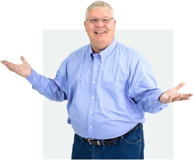 Bob Ball with arms open