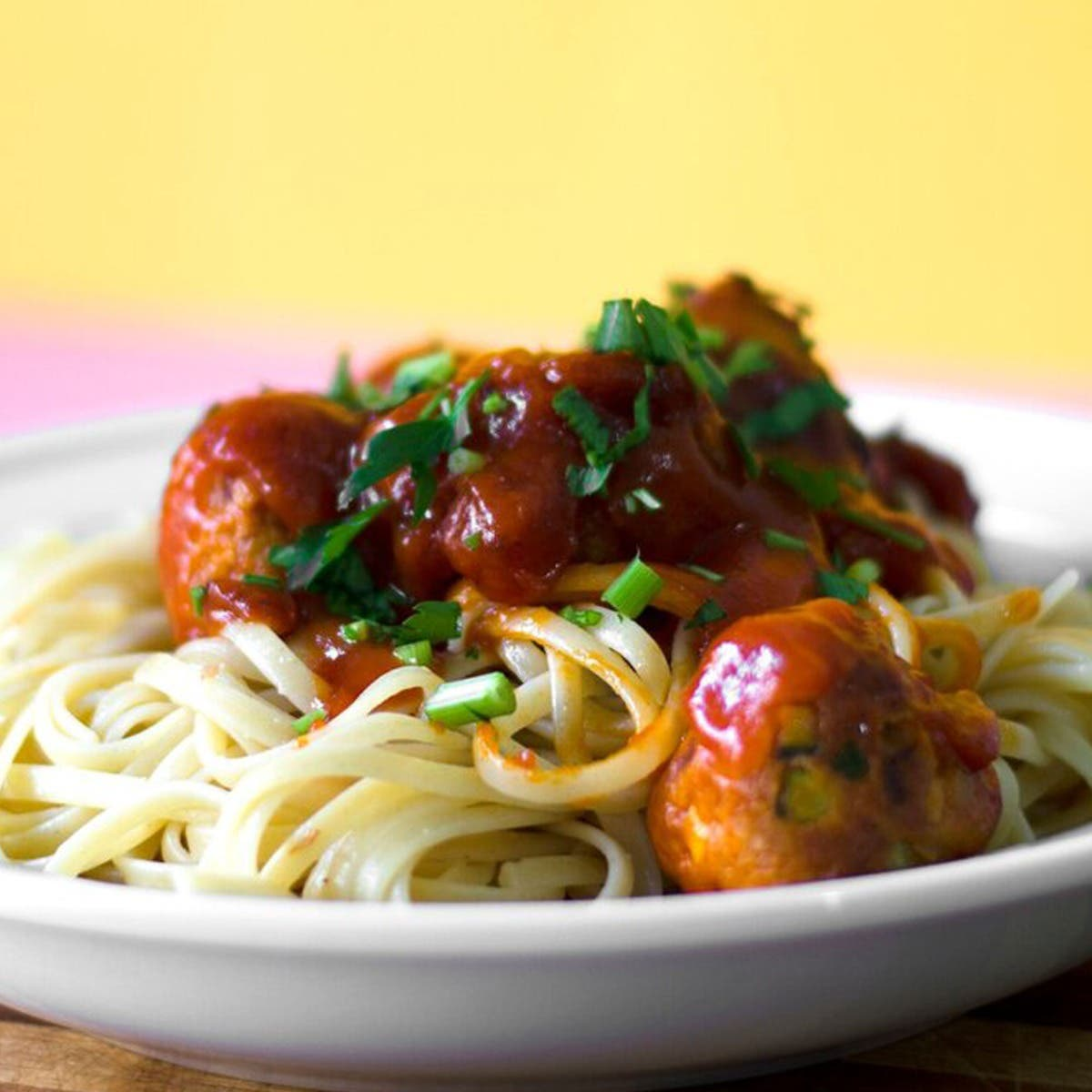 spaghetti and homemade meatballs