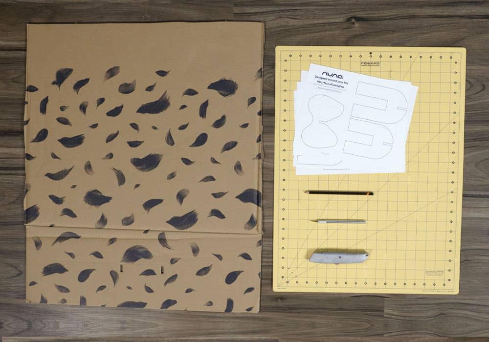 animal cardboard cutout instruction step 1