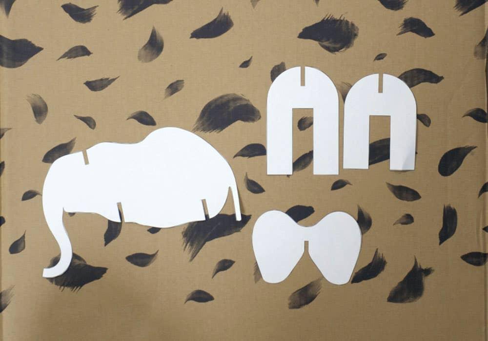 animal cardboard cutout instruction step 2