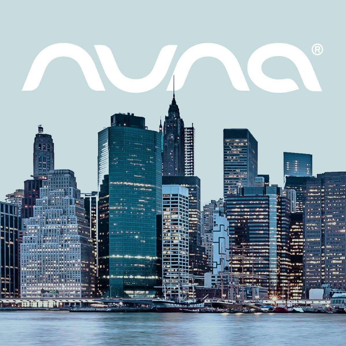 Nuna logo over NYC skyline