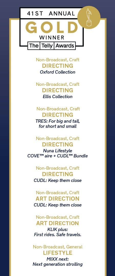 Nuna Telly Award Gold winners list